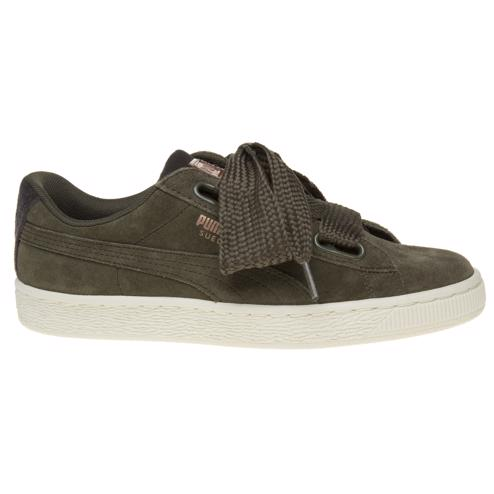 2ca934c7d4e Cheap Womens Green Puma Suede Heart Vr Trainers at Soletrader Outlet